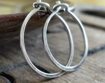 3/4 inch Sterling Silver Hoops - Handmade. Handforged. Oxidized & polished