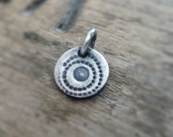 Spore Pendant - Handmade. Oxidized Fine recycled silver