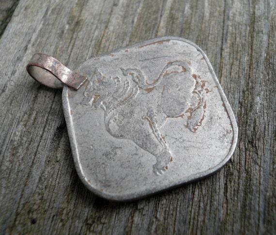 Old Burmese Coin Square Pendant - 27mm x 23mm, 1 pendant