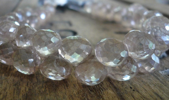 Silver Grey Topaz faceted onion briolettes - 7-8mm, 1/4 strand