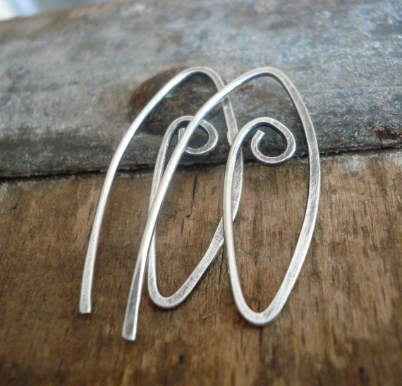 2 Pairs of my Furl Sterling Silver Earwires - Handmade. Handforged. Oxidized & polished