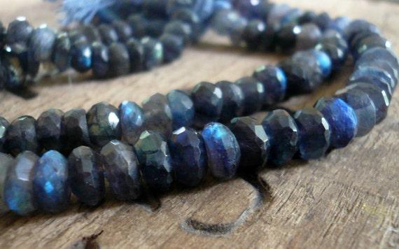 Spectrolite (blue Labradorite) faceted rondelles - 4-5mm, 1/2 strand