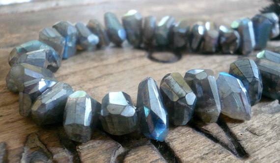 NEW Diamond Finish Labradorite Faceted Nuggets - Average of 10-13mm, 1/2 strand