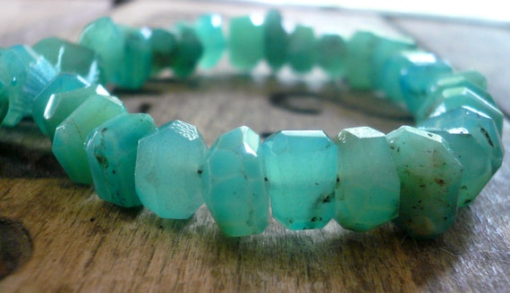 Peruvian Blue Opal Pearlized Faceted Center drill nuggets - 8-10mm, 1/2 strand
