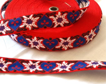 3 yards Blue Hearts & White Flowers on Red Wide Woven Vintage Jacquard Ribbon Sewing Trim - Craft Supplies, Needlework, Sewing, Guitar Strap