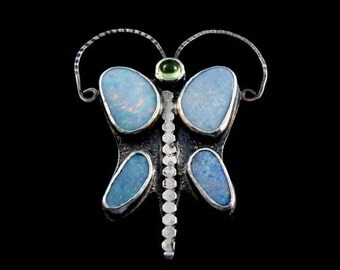 Art Deco Inspired Silver Butterfly Pin with Opals and Peridot