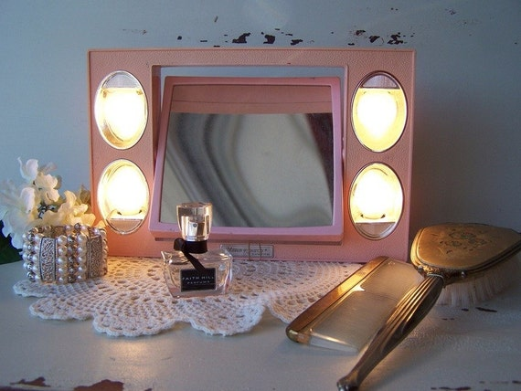 Shabby Chic Powder Pink 1960s Lighted Vanity Mirror