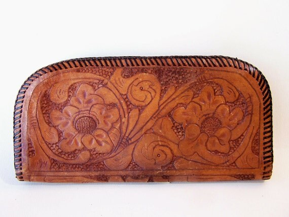 Vintage Leather Wallet . Tooled Leather. Leather Roses