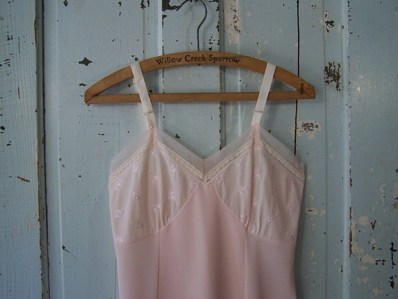 1950s Vintage Pink Full Slip Sheer with Tiny Flowers Bust Size 34 Medium by Philmaid