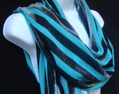 Extra Large Teal and Grey Stripe Devore Cut Velvet Scarf with Fringe - Original and Unique