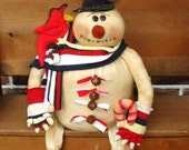 SNOWMAN Pattern, Mr. JINGLES with Candy Cane and Cardinal Bird Pattern, New, FAAP