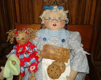 DOLL PATTERN Grandma Doll with Baby Raggedy Ann Doll and Chocolate Chip COOKIES pattern New