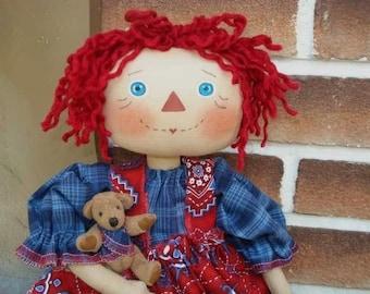 Artist Dolls, RAGGEDY Ann DOLL Pattern With Tiny Bear Pattern, Di-Annie and Jadey Bear 122 Raggedydays New