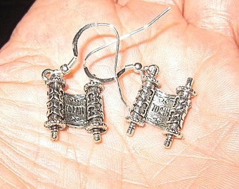 Torah Jewish Bible earrings great for Shabbat and every day Bat Mitzvah gift