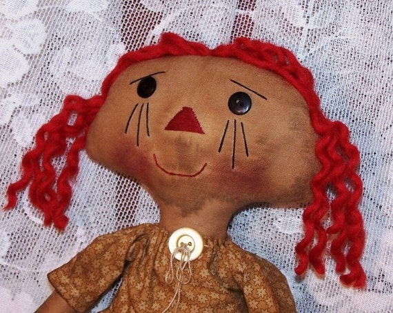 Primitive RAGGEDY Doll PATTERN Annie Doll Quick and Easy to Make INSTANT Download