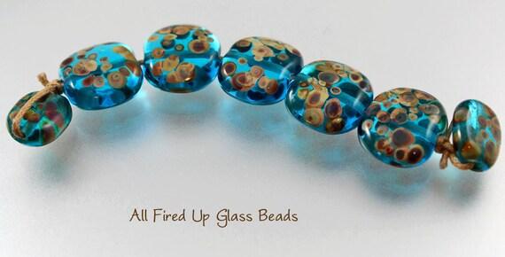 Turquoise Tabs Lampwork Bead Set (7) SRA