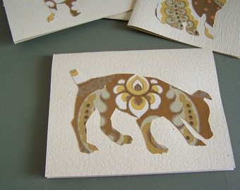 4 dogs notecards - vintage wallpaper silhouettes