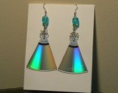 Bermuda Triangle Rainbow Reflective Earrings - Made From Upcycled CDs