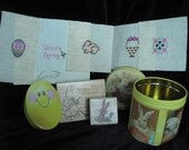 Spring Goodies Easter Holiday Gifts bunny stamps daisy kingdom vintage buttons cross stitch eggs baskets