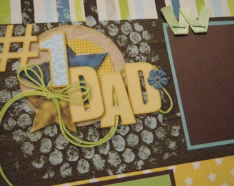 TWO 1 DAD Fathers Day  Premade 12x12 Scrapbook Pages for Dad Boy
