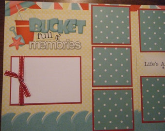 Bucket Full of Memories  Premade 12x12 Scrapbook Pages for the Beach Boy GIRL SUMMER