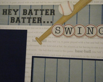 Hey Batter Batter SWING Baseball  Fun Premade 12x12 Scrapbook Pages for Boy Girl Family