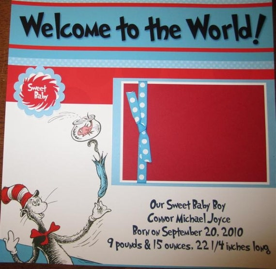 20 Page Set of Dr. Seuss Premade 12x12 Baby Scrapbook Pages for Beckie Plaza