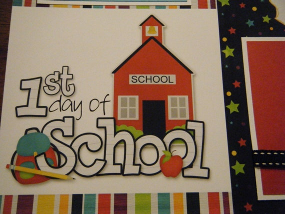 Premade First Day of School 12x12 Scrapbook Pages for boy girl family