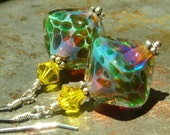 Exotic Islands, oceanic diamonds, handmade artist lampwork beads, sunny Swarovski crystals, sterling silver earrings