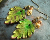 Leather earrings, Leaves and Flowers, handmade genuine leather leaves, Czech glass, and brass, nature inspired earrings