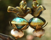 Nest and Bird, earrings, speckled ceramic eggs beads, aged brass, petals, leaves, glass, white blue turquoise rustic forest