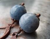 Denim blue coral copper earrings, antique style copper rustic leverback gemstone, vintage style ocean sea coastal nautical summer beach gift