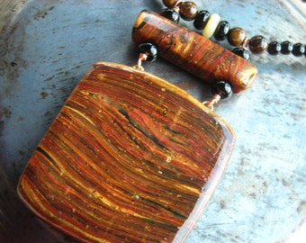 Spicy Wood, polymer clay and real spices pendant, natural nephrite jade, bronzite and black onyx gemstones, copper necklace