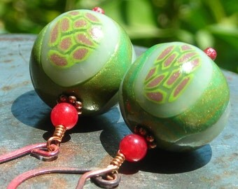 Pod Earrings large green red nature earrings fall fashion autumn peapod pea seed rustic handmade polymer clay bead copper red agate unique