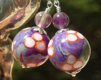 Natural fluorite Purple earrings, silver jewelry silver drop earrings polymer clay flower beads, dangle earrings for women