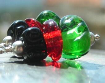 Colorful lampwork earrings, funky colors, red green black, 925 sterling silver glass earrings, unique funny earrings dangle earrings on sale