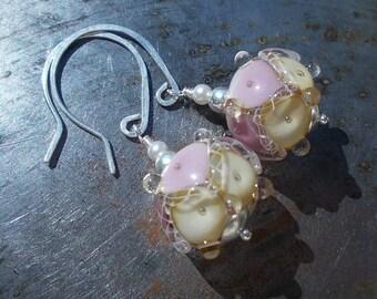 Unique Sterling silver Earrings handmade jewelry dangle earrings rose pink lavender ivory artisan lampwork glass beaded boho chic romantic
