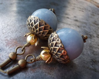 Angel blue acorn earrings beaded oxidized antiqued brass and natural angelite gemstone beads nature inspired vintage chic jewelry