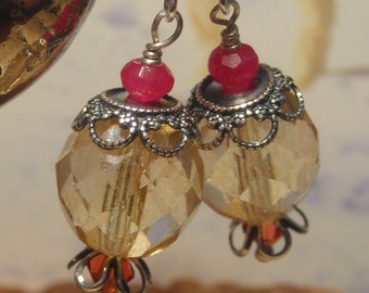 Vintage style earrings, ruby quartz, glass beads, champaign champagne red, antiqued silver dangle earrings for women, romantic renaissance