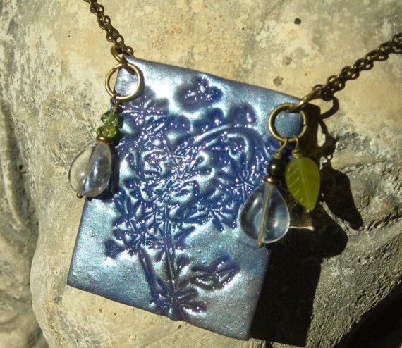 Polymer clay and gemstone necklace, natural crystal rock, peridot, olive jade, bamboo bush leaves butterfly mixed media  brass