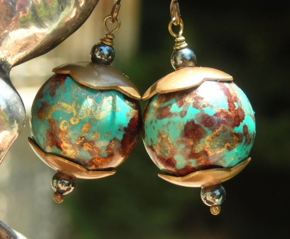 Earths on Caps,  lucite, barss and hematite, on solid brass, chunky rustic earrings