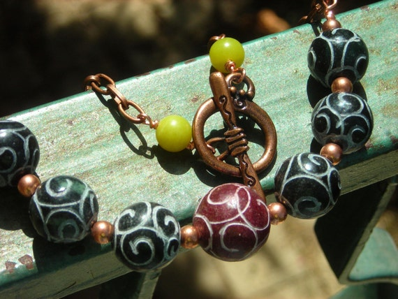Asian Jade Necklace, carved serpentine, olive jade and antiqued copper, unisex rustic ethnic