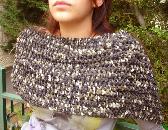 Women's Knitted Wool Wrap organic brown black grey gray mesh in chunky yarn, earthy, shawl, handknitted gift, bulky nature rustic lace net