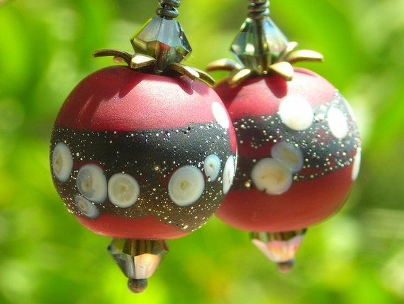 Cherry Earrings women dangle earrings sterling silver  handmade artist lampwork glass beads red black oxidized unique girl