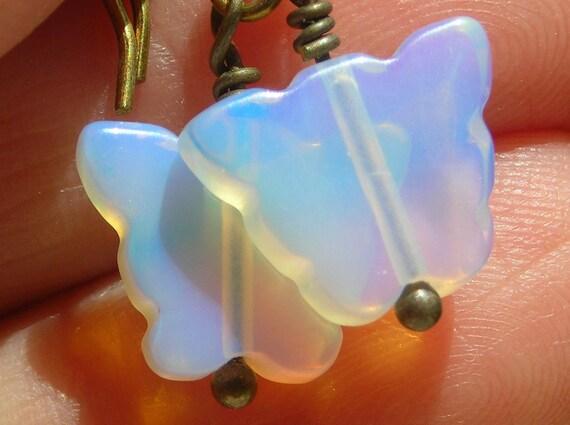 Butterfly earrings, earrings with butterflies, opalite and brass earrings