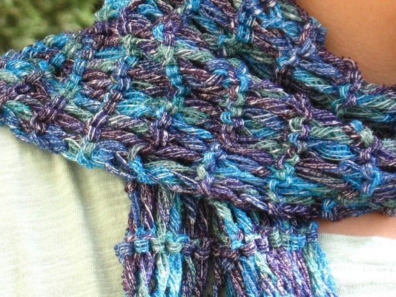 Knit scarf, summer scarves, blue purple scarf, long skinny scarf, turquoise purple blue ribbon yarn hippie young jeans wear knitted denim