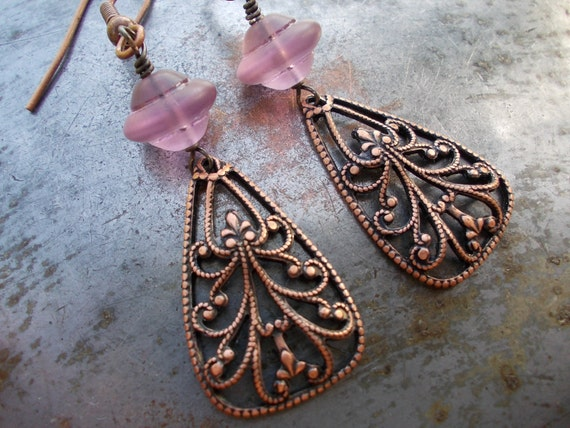 CIJ 50% OFF Christmas in July Sale, Lavender flourishes vintage style earrings with antiqued copper and glass beads shabby and cottage chic