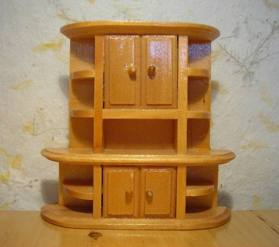 Vintage miniature collectible wooden cupboard, furniture cabinet for doll house