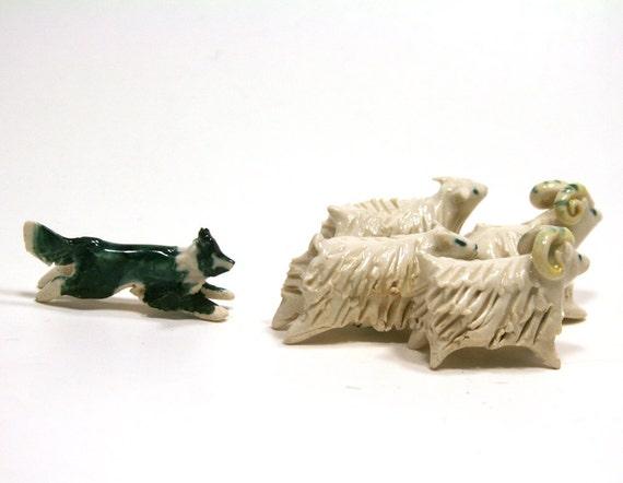 Border Collie dog and sheep set - porcelain figurine