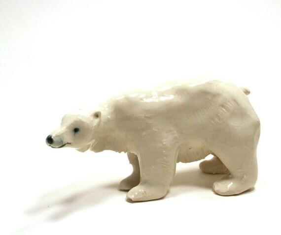 polar bear figurine - porcelain sculpture